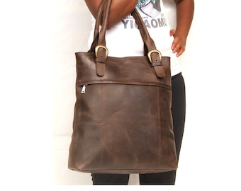 Women Leather Tote bag  Dark brown ladies bag for Laptop  market  library or every day use