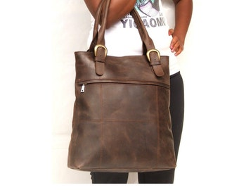 women work bag leather hand bag Leather tote bag Dark brown bag market bag library bag leather work bag ladies leather laptop bag dark brown