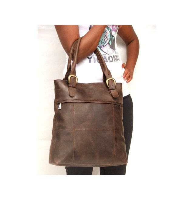 women work bag leather hand bag Leather tote bag Dark brown