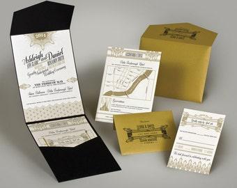 Champagne Glam Art Deco Invitation Wedding Invitation Suite   25