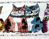 Original Cat Art - Aloha Cats with Leis