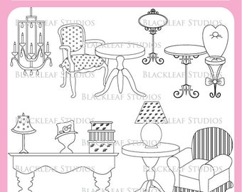 Vintage Chic Boutique Clip Art Instant Download - shabby chic, new home, vintage, scrapbooking - Personal and Commercial Use Clipart