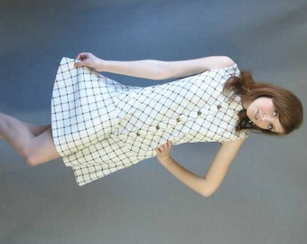 60s Scooter Dress Shorts Mod Vintage Mini Drop Waist Plaid Small Medium