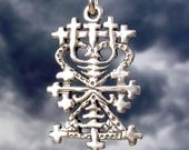 MAMAN BRIGITTE VEVE - Solid Cast Voodoo Lwa Vodou Pendant Charm in Sterling Silver or Bronze