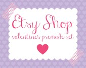 Valentines Etsy Banner - Etsy Banner Avatar Shop Package - Valentines Day Premade Design Store - Purple Polka Dot Hearts