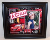 Disney Cars - Lightning McQueen Picture Frame - Personalized - Deluxe 8x10 Frame Included - Other Cars Prints Available