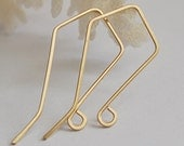 Trapeze shaped Gold Ear wires Earrings - Handmade French style Earwires. Earring making. Unique Earwires,Artisan Earwires.Exclusive Earwires