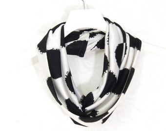 SALE - Black and White Polka Dots Infinity Circle Scarf Gift for Her Tube Scarf Spring Scarf Summer Scarf Lightweight Scarf Unisex Scarf