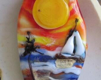 CARIBBEAN SUNSET Sailing Lampwork Necklace