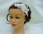 Wedding Bridal Retro Glam Headband, Lace Headband, Great Gatsby Headband,Art Deco Vintage Inspired Headband - Harlow