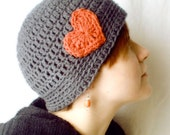 Crochet Love Beanie - Heart Valentine Hat - Charcoal and Coral
