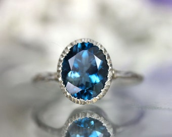 London Blue Topaz Sterling Silver Ring / Gemstone Ring / Milgrain Detials In No Nickel / Nickel Free - Made To Order