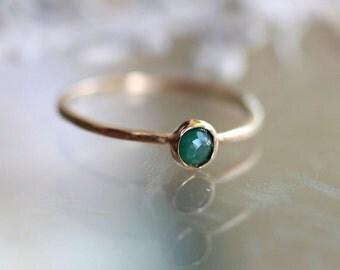 Rose Cut Emerald 14K Gold Ring, Stacking Ring, Gemstone Ring - Made To Order