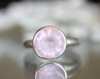 Rose Quartz Sterling Silver Ring, Gemstone Ring, In No Nickel / Nickel Free (Limited Edition) - Made To Order