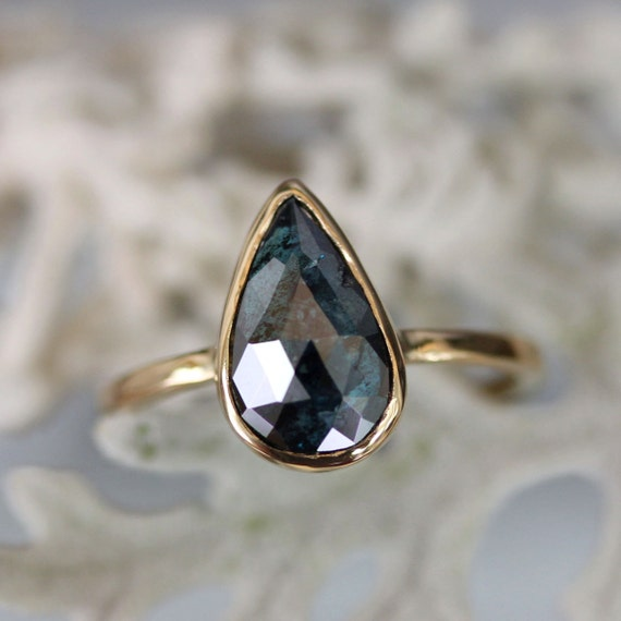 Reserve Listing for A Rose Cut Deep Blue Teardrop Diamond In