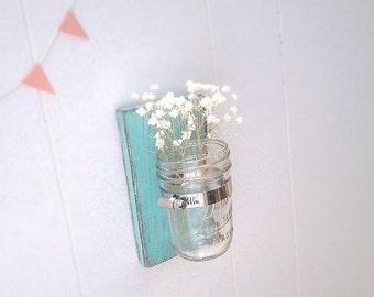 Wall sconce wood vase mason jar Light Turquoise - single vase