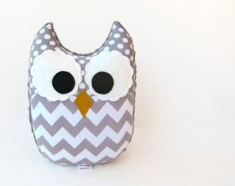 Gray Chevron Owl Plush Baby Toy Mini Pillow Softie Ready to Ship