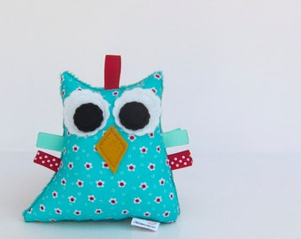 Owl Rattle Plush Baby Toy Small Stuffed Owl Softie Minky Turquoise Red White