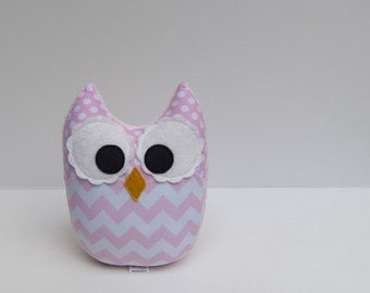 Soft Light Pink Chevron Owl Plush Baby Toy Mini Pillow Softie Ready to Ship