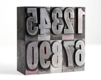 NUMBERS - 72pt Vintage Metal Letterpress (Franklin Gothic Bold Condensed)