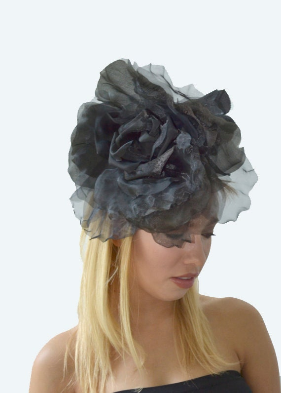 Couture Black Fascinator Hat - Noir Giant Flower French Glamor Statement Headpiece