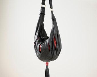 Big Black Leather Shoulder Bag, Crossbody, Slouch,  Hobo Sac with a Tassle - The Rebecca