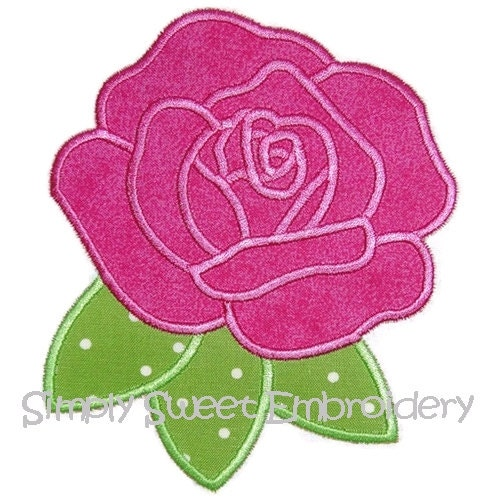 Rose machine embroidery applique design