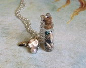 Cyber Monday Sale. Mermaid dreams-Glass vial necklace-Mini bottle pendant-Seashells necklace.