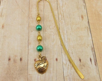 Beaded Bookmark - Special Teacher - Apple - Green and Gold (or choose your colors)