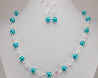 Necklace and Earring Set - Bright Aqua Blue Glass Pearls with Aurora Borealis Glass Beads - Turquoise
