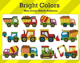 EarthMovers Trucks Bright Colors Mini  PDF Cross Stitch Chart