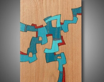 """On Trial: 11"""" x 15.5"""" - Pyrography on Oak - Original Abstract Modern Art - Colored with Prismacolor Pencil"""