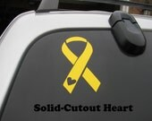 Yellow Support the Troops Vinyl Car Decal