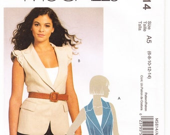 2009 McCall's M5814 UNCUT Sewing Pattern Misses' Lined Jacket Size 6-14 Bust 30-1/2 - 36