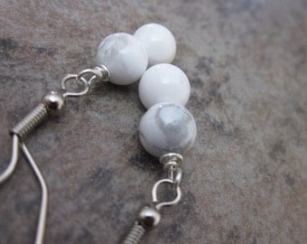Howlite Gemstone Earrings. White Howlite Wrapped onto Silver Plated Earwire. Gifts for Her