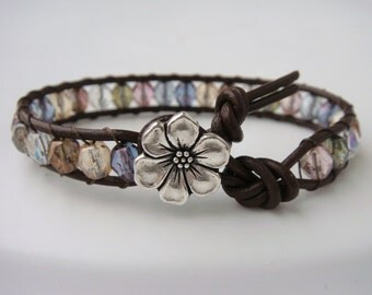 Colorful Beaded Leather Bracelet with Flower Button