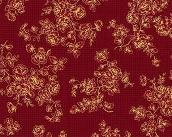 Mary Rose Grace's Holiday Collection by Quilt Gate MR2160-14B Red Floral with Metallic Accents
