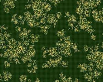 Mary Rose Grace's Holiday Collection by Quilt Gate MR2160-14C Green Floral with Metallic Accents