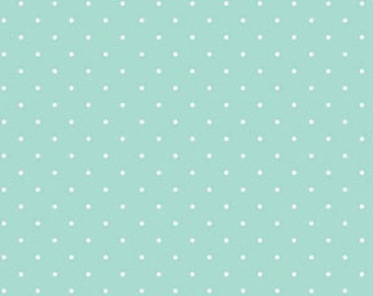Aqua White Little Dot  by Michele D'Amore for Sweetie Pie by Benartex Cotton Fabric 3652-05