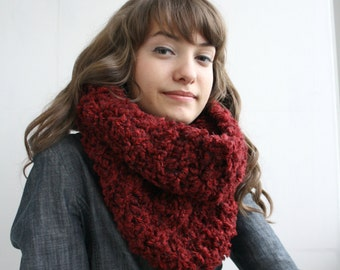 Handmade Ruby Red Fur Wool Chunky Loop Cowl Collar Scarf  Mothers Day gift