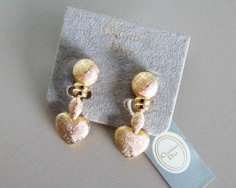 Vintage CHRISTIAN DIOR heart shape gold earrings