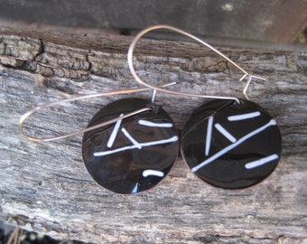 Gorgeous enameled black and white copper dangle earrings