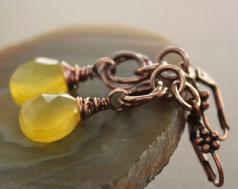 Luxurious honey yellow copper earrings with faceted briolette chalcedony stones on chainmaille hoops