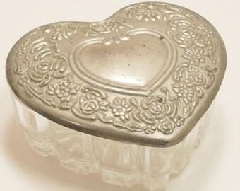 Silver Heart Trinket Box Leaded Glass Vanity Jewelry Silverplate Vintage