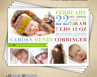Baby Birth Announcement - Digital File - Camden Henry design