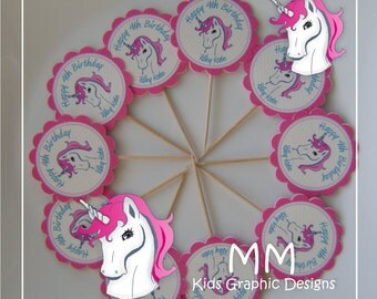 Unicorn Birthday - 20 Cupcake Toppers - Personalized Cupcake Toppers - Birthday Cupcake Toppers  - Baby Shower Cupcake Toppers