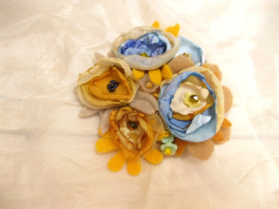 Yellow, teal & sky blue flowers corsage --- tagt team --- spring