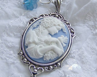Cameo Pendant - GODDESS IN GARDEN - Dove - blue flower - blue and white - Woman Girl Lady