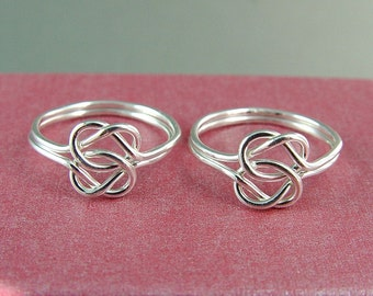 Silver Love Knot Rings / Two Love Knot Rings /  Best Friends Rings / Celtic Knot Ring