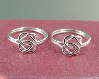 Silver Love Knot Rings / Two Love Knot Rings /  Best Friends Rings / Celtic Knot Ring / Double Love Knot Rings